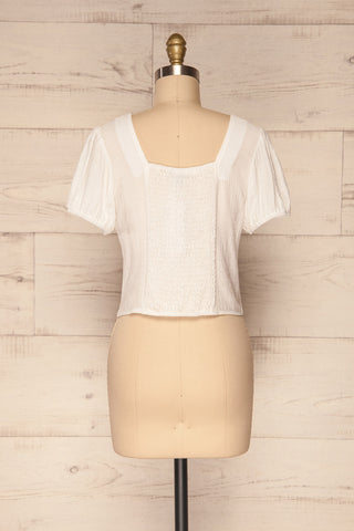 Catarama Cloud White Button-Up Crop Top | La Petite Garçonne back view