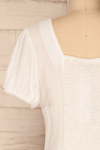 Catarama Cloud White Button-Up Crop Top | La Petite Garçonne back close-up