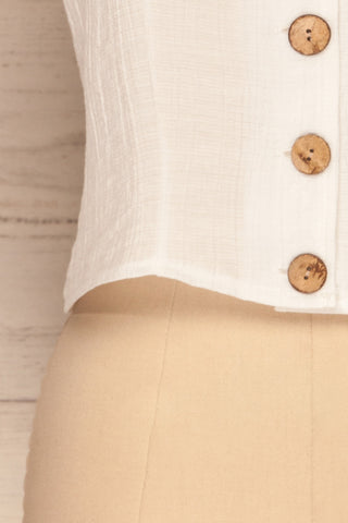 Catarama Cloud White Button-Up Crop Top | La Petite Garçonne bottom close-up