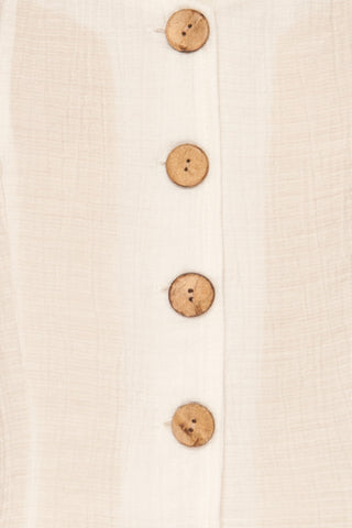 Catarama Cloud White Button-Up Crop Top | La Petite Garçonne fabric detail