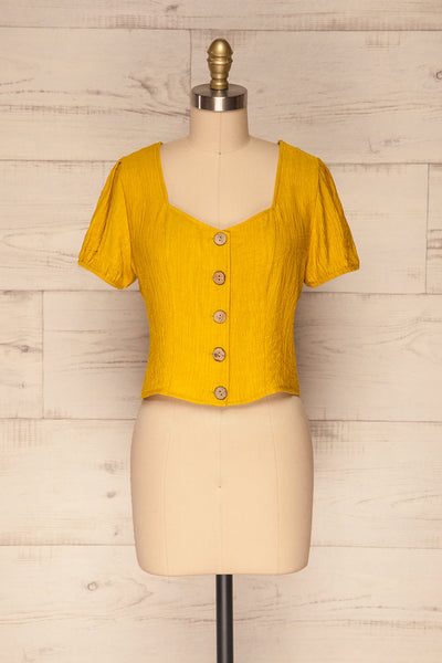 Catarama Sun Yellow Button-Up Crop Top | La Petite Garçonne front view