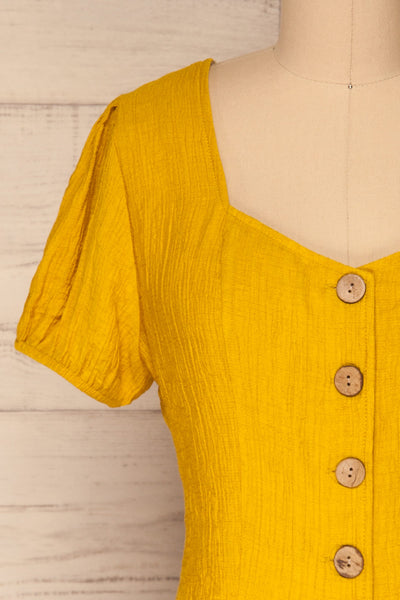 Catarama Sun Yellow Button-Up Crop Top | La Petite Garçonne front close-up