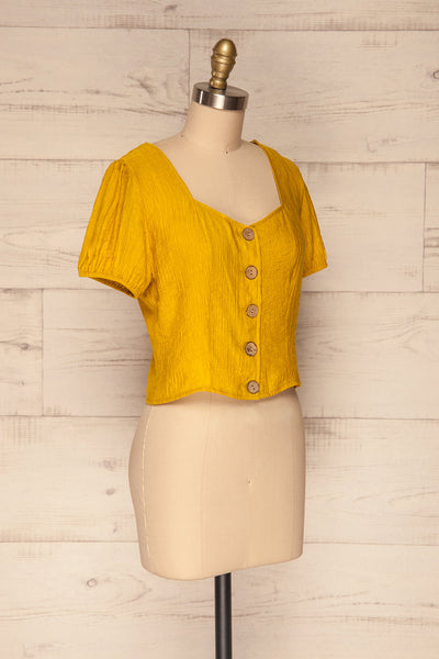 Catarama Sun Yellow Button-Up Crop Top | La Petite Garçonne side view