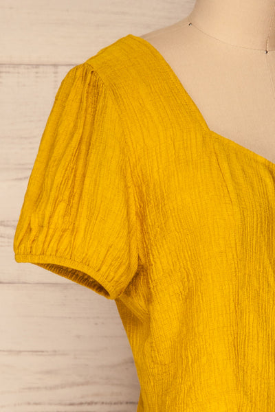 Catarama Sun Yellow Button-Up Crop Top | La Petite Garçonne side close-up