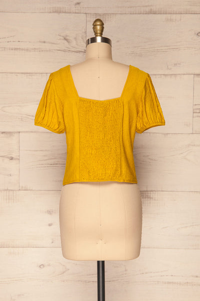 Catarama Sun Yellow Button-Up Crop Top | La Petite Garçonne back view