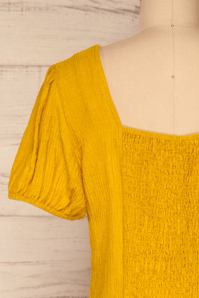 Catarama Sun Yellow Button-Up Crop Top | La Petite Garçonne back close-up