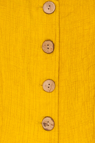 Catarama Sun Yellow Button-Up Crop Top | La Petite Garçonne fabric detail