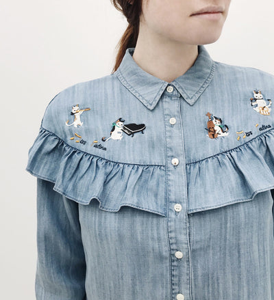 Catforth Denim Blue Shirt with Cat Embroidery | La Petite Garçonne 13