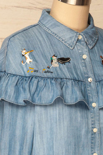 Catforth Denim Blue Shirt with Cat Embroidery | La Petite Garçonne 4