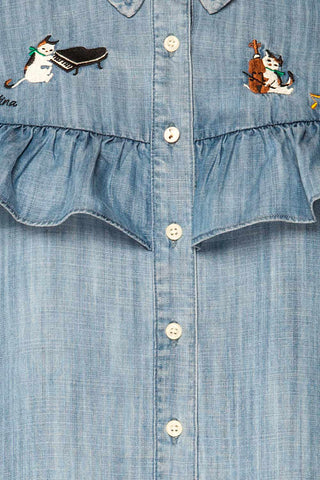 Catforth Denim Blue Shirt with Cat Embroidery | La Petite Garçonne 11