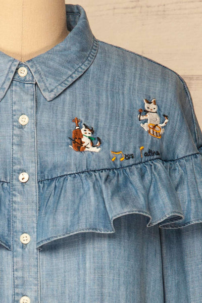 Catforth Denim Blue Shirt with Cat Embroidery | La Petite Garçonne 8