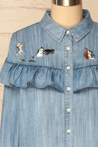Catforth Denim Blue Shirt with Cat Embroidery | La Petite Garçonne 2