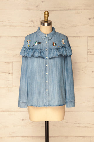 Catforth Denim Blue Shirt with Cat Embroidery | La Petite Garçonne 1
