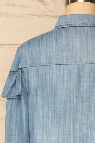 Catforth Denim Blue Shirt with Cat Embroidery | La Petite Garçonne 6