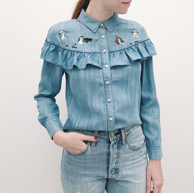 Catforth Denim Blue Shirt with Cat Embroidery | La Petite Garçonne 12