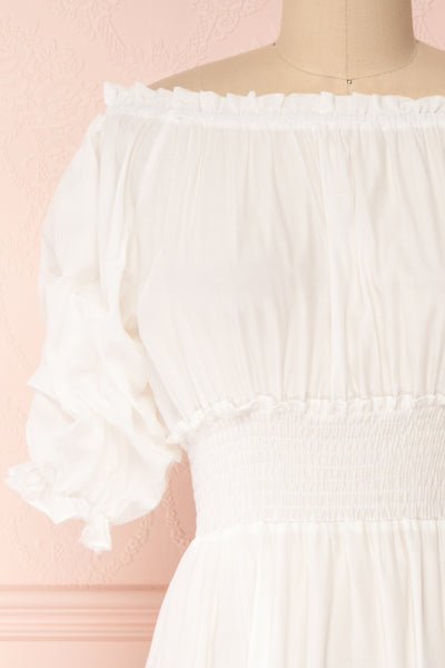 Catolie White Layered Midi Dress w/ Frills | Boutique 1861 front close-up