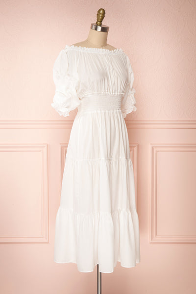 Catolie White Layered Midi Dress w/ Frills | Boutique 1861 side view