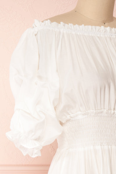 Catolie White Layered Midi Dress w/ Frills | Boutique 1861 side close-up