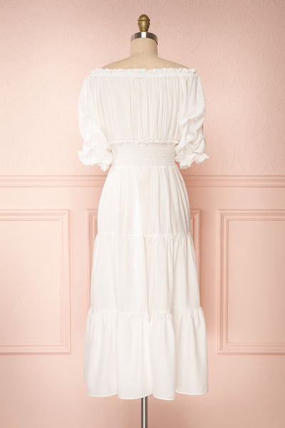 Catolie White Layered Midi Dress w/ Frills | Boutique 1861 back view