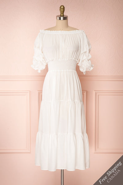 Catolie White Layered Midi Dress w/ Frills | Boutique 1861 front view