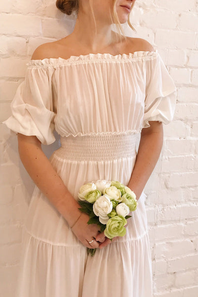 Catolie White Layered Midi Dress w/ Frills | Boutique 1861 on model