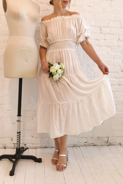 Catolie White Layered Midi Dress w/ Frills | Boutique 1861 model look