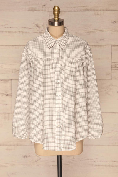 Cavertul White & Black Checkered Shirt front view | La petite garçonne
