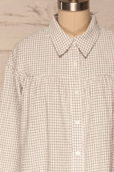 Cavertul White & Black Checkered Shirt front close up | La petite garçonne