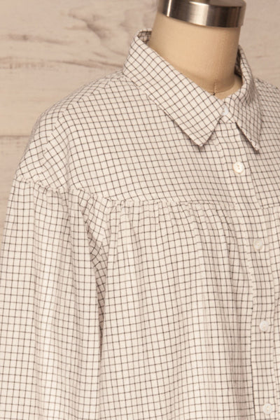 Cavertul White & Black Checkered Shirt side close up | La petite garçonne