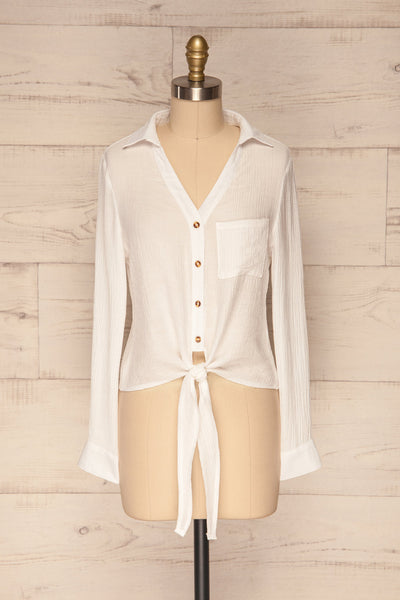 Cayambe Blanc White Crepe Button-Up Shirt | La Petite Garçonne front view