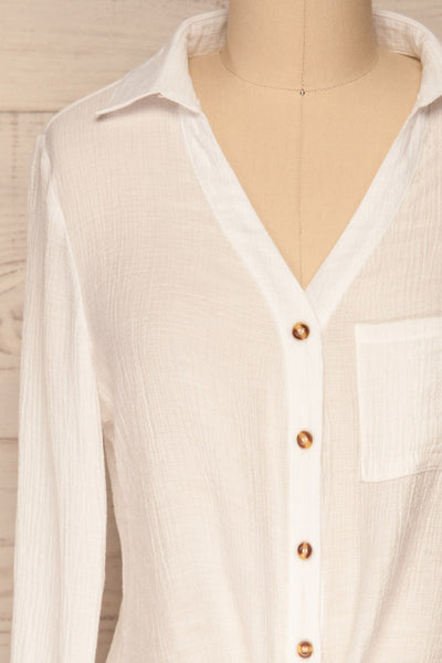 Cayambe Blanc White Crepe Button-Up Shirt | La Petite Garçonne front close-up
