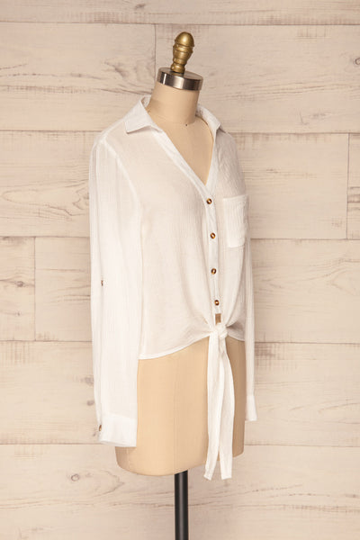 Cayambe Blanc White Crepe Button-Up Shirt | La Petite Garçonne side view