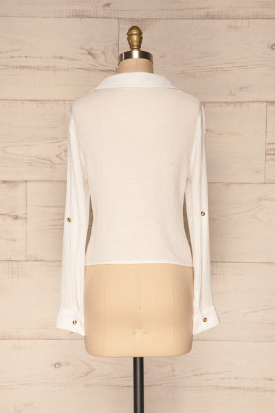 Cayambe Blanc White Crepe Button-Up Shirt | La Petite Garçonne back view