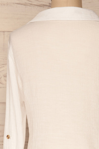 Cayambe Blanc White Crepe Button-Up Shirt | La Petite Garçonne back close-up