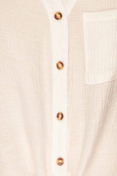 Cayambe Blanc White Crepe Button-Up Shirt | La Petite Garçonne