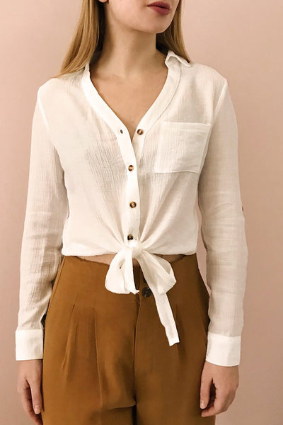 Cayambe Blanc White Crepe Button-Up Shirt | La Petite Garçonne on model