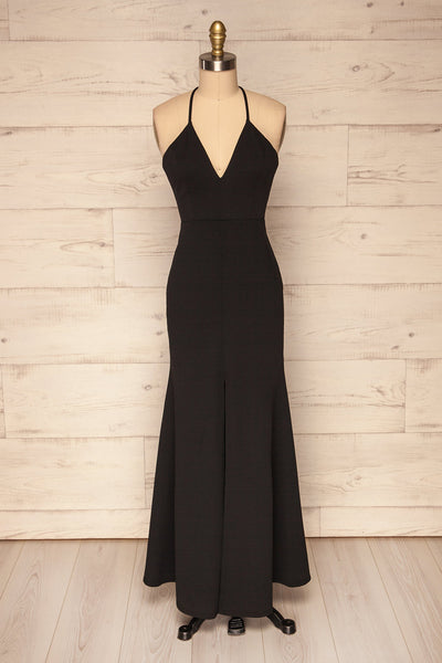 Cazma Black Mermaid Gown with Lace Back | La Petite Garçonne front view