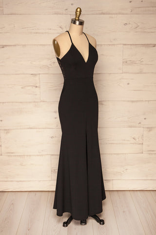 Cazma Black Mermaid Gown with Lace Back | La Petite Garçonne side view