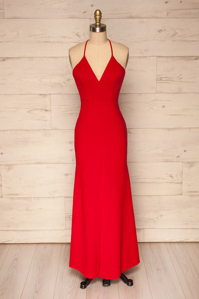 Cazma Red Mermaid Gown with Lace Back | La Petite Garçonne front view