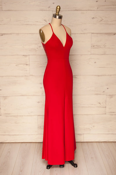 Cazma Red Mermaid Gown with Lace Back | La Petite Garçonne side view