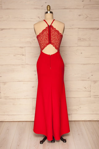 Cazma Red Mermaid Gown with Lace Back | La Petite Garçonne back view