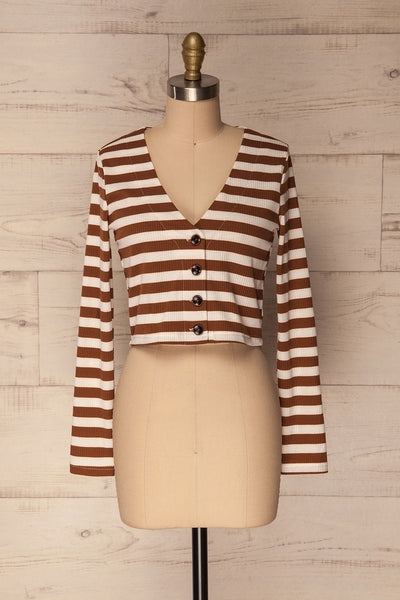Cedovim Brown & Ivory Striped Crop Top | La Petite Garçonne 1