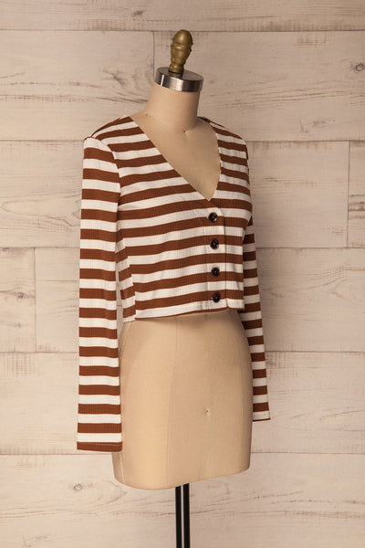 Cedovim Brown & Ivory Striped Crop Top | La Petite Garçonne 3