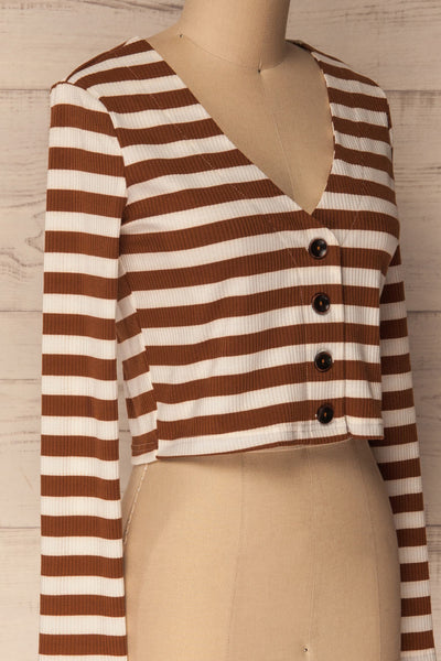 Cedovim Brown & Ivory Striped Crop Top | La Petite Garçonne 4