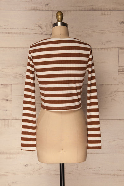 Cedovim Brown & Ivory Striped Crop Top | La Petite Garçonne 5