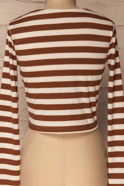 Cedovim Brown & Ivory Striped Crop Top | La Petite Garçonne 6