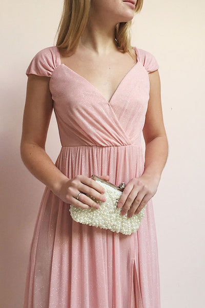 Cephee Blush Glitter Dress | Robe Maxi | Boutique 1861 model close up