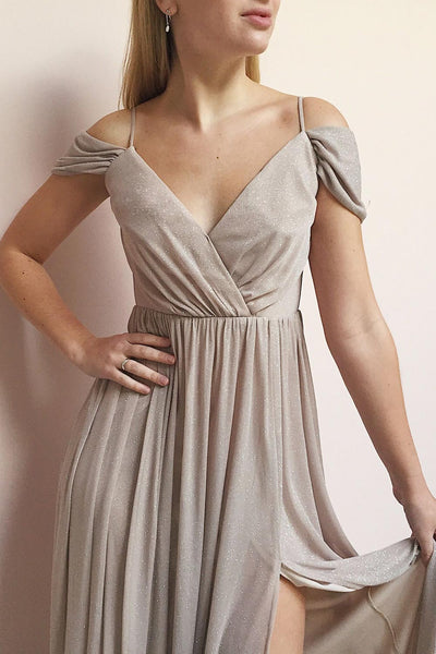 Cephee Taupe Glitter Dress | Robe Maxi | Boutique 1861 model close up