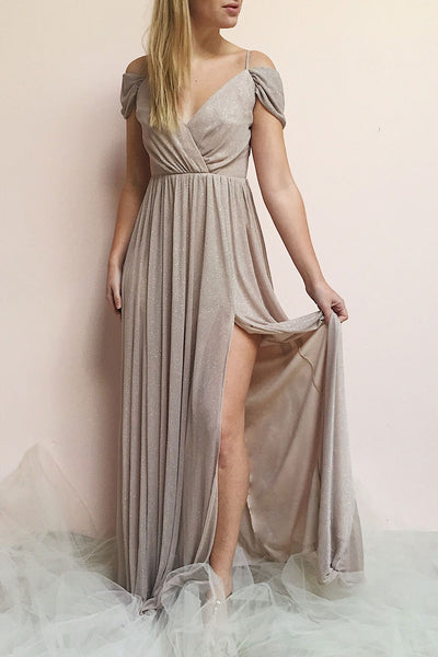 Cephee Taupe Glitter Dress | Robe Maxi | Boutique 1861 on model