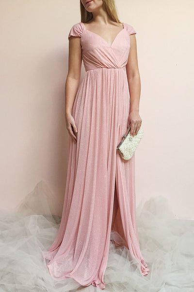 Cephee Blush Glitter Dress | Robe Maxi | Boutique 1861 on model